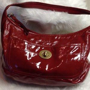 Coach red patent leather shoulder Satchel